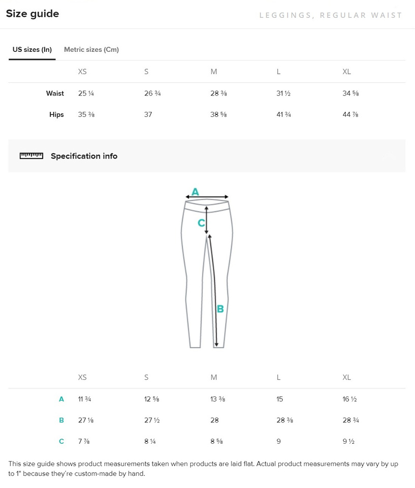 Size Guide, Leggings, Regular Waist