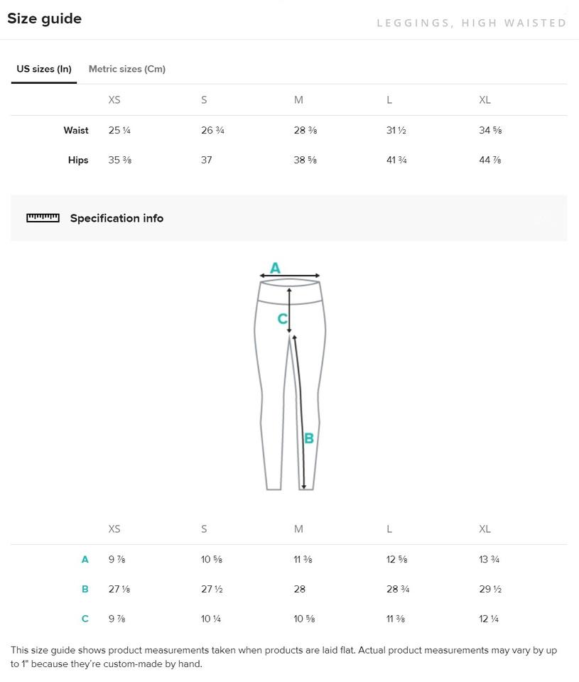 Size Guide, Leggings, High Waisted